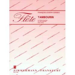 Gossec, Francois Joseph: Tambourin : f├╝r Piccolo, 4 Fl├Âten, Altfl├Âte in G, Ba├ƒfl├Âte in C und Tamburin Partitur und Stimmen