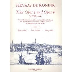 Konink, Servaas de: Trios aus op.1 und op.4 Band 1 : für 2 Melodieinstrumente, Baß und Bc Partitur und 3 Stimmen