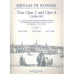 Konink, Servaas de: Trios aus op.1 und op.4 Band 2 : für 2 Melodieinstrumente, Baß und Bc Partitur und 3 Stimmen