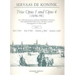 Konink, Servaas de: Trios aus op.1 und op.4 Band 3 : für 2 Melodieinstrumente, Baß und Bc Partitur und 3 Stimmen