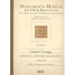 Gussago, Cesario: Sonate a quattro, sei et otto Band 1 10 Sonaten zu 4 Stimmen für Blockflöten (SATB), Partitur