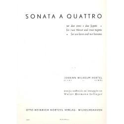 Hertel, Johann Wilhelm: Sonata à quattro : per 2 corni e 2 fagotti Partitur und 4 Stimmen