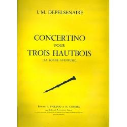 Depelsenaire, Jean-Marie: Concertino pour 3 hautbois et orchestre ou piano : pour 3 hautbois et piano partition et parties