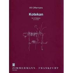 Offermans, Wil: Kotekan für 5 Flöten, Altflöte in G und 2 Baßflöten (Flöten in C) Partitur und Stimmen