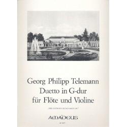 Telemann, Georg Philipp: Duetto G-Dur für Flöte und Viola mit Faksimile des Erstdrucks