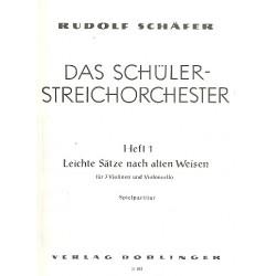 Schäfer, Rudolf: Leichte Sätze nach alten Weisen für 3 Violinen und Violoncello Spielpartitur