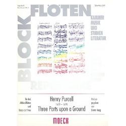 Purcell, Henry: 3 Parts upon a Ground für 3 Altblockflöten und Bc Partitur + 4 Stimmen