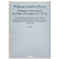 Mozart, Wolfgang Amadeus: Sinfonia concertante Es-Dur KV297b für 2 Bläserquartette und Kontrabaß Partitur