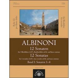 Albinoni, Tomaso: 12 Sonaten Band 1 (Nr.1-4) : für 3-4 Blockflöten (AATB) und Bc Partitur und Stimmen