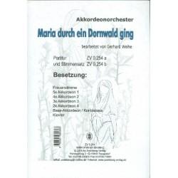 Maria durch ein Dornwald ging für Frauenstimme, Akkordeonorchester, Klavier und Kontrabass Partitur und Stimmen