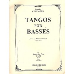 Cervantes, Ignacio: Tangos for Basses from 21 Danzas cubanas : for 3 bass recorders (BB GB), score and parts