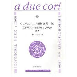 Grillo, Giovanni Battista: Canzon pian e forte a 8 : für 8 Instrumente in 2 Chören (SATB/SATB) und Bc, Partitur und Stimmen