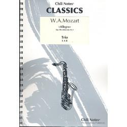 Mozart, Wolfgang Amadeus: Allegro aus dem Divertimento Nr.1 : f├╝r 3 Saxophone (SAB) Partitur und Stimmen