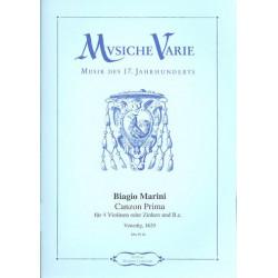 Marini, Biagio: Canzon prima aus op.8 für 4 Violinen (Zinken) und Bc Partitur und Stimmen (Bc nicht ausgesetzt)