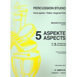 Hummel, Bertold: 5 Aspekte op.88d für 3 Schlagzeuger Partitur und Stimmen
