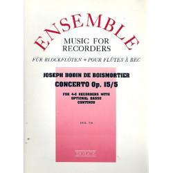 Boismortier, Joseph Bodin de: Konzert op.15,5 für 4-5 Blockflöten und Bc Partitur und Stimmen