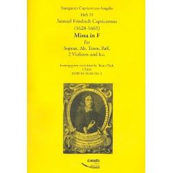 Capricornus, Samuel Friedrich: Missa in F : für 4 Stimmen (gem Chor), 2 Violinen und Bc Partitur und Stimmen