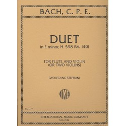 Bach, Carl Philipp Emanuel: Duet in e minor H598 WQ140 : for flute and violin (2 violins) 2 scores