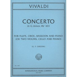 Vivaldi, Antonio: Concerto in g Minor F.XII:4 : for flute, oboe, bassoon and piano (2 violins, cello and piano), parts