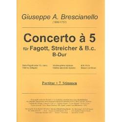 Brescianello, Giuseppe Antonio: Konzert à 5 B-Dur für Fagott (Violoncello), Violine, Streicher und Bc Partitur und Stimmen