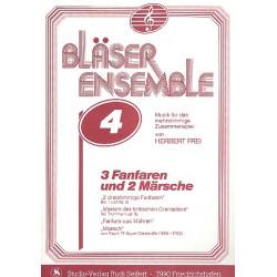 3 Fanfaren und 2 Märsche : für 3-stimmiges Bläserensemble, Trommeln ad lib Spielpartituren in C, B und Es
