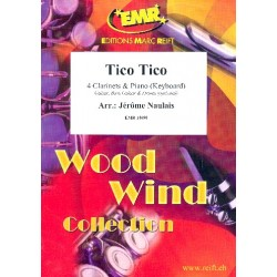 Abreu, Zequinha: Tico Tico for 4 clarinets and piano (keyboard) (rhythm group ad lib) score and parts