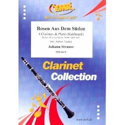 Strauß, Johann (Sohn): Rosen Aus Dem Süden for 4 clarinets and piano (keyboard) (rhythm group ad lib) score and parts