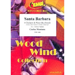 Montana, Carlos: Santa Barbara for 4 clarinets and piano (keyboard) (rhythm group ad lib) score and parts