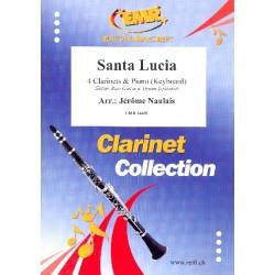 Santa Lucia for 4 clarinets and piano (keyboard) (rhythm group ad lib) score and parts