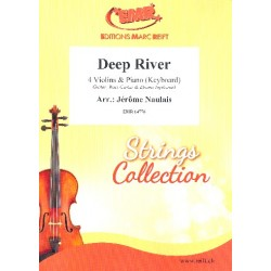 Deep River for 4 violins and piano (keyboard) (rhythm group ad lib) score and parts