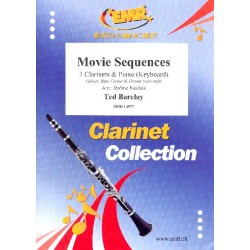 Movie Sequences : for 3 clarinets and piano (keyboard) (rhythm group ad lib) score and parts