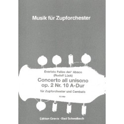 Dall'Abaco, Evaristo Felice: Concerto all unisono A-Dur op.2,10 : für Cembalo und Zupforchester Partitur