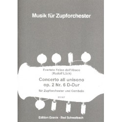 Dall'Abaco, Evaristo Felice: Concerto all unisono D-Dur op.2,6 : für Cembalo und Zupforchester Partitur