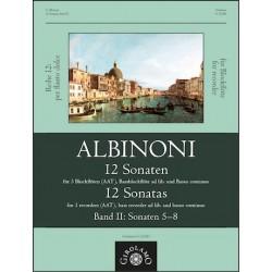 Albinoni, Tomaso: 12 Sonaten Band 2 (Nr.5-8) : für 3-4 Blockflöten (AATB) und Bc Partitur und Stimmen