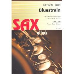 Hahn, Jürgen: Bluestrain : für 3 Saxophone (AAT/STB), (Klavier, Bass, Schlagzeug ad lib) Partitur und Stimmen