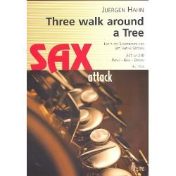 Hahn, Jürgen: Three alked around a Tree : für 3 Saxophone, (Klavier, Bass, Schlagzeug ad lib) Partitur und Stimmen
