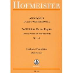 Anonymus: 12 Stücke Band 1 (Nr.1-6 ) : für 4 Fagotte Partitur und Stimmen