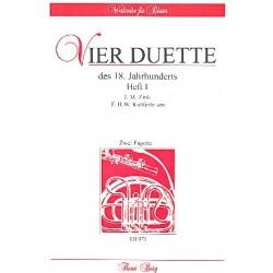 4 Duette des 18. Jahrhunderts Band 1 : für 2 Fagotte Partitur und Stimmen
