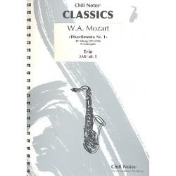 Mozart, Wolfgang Amadeus: Divertimento Nr.1 KVAnh229 (KV439b) : f├╝r 3 Saxophone (AABar/AAT) Partitur und Stimmen