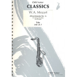 Mozart, Wolfgang Amadeus: Divertimento Nr.3 KVAnh229 (KV439b) : f├╝r 3 Saxophone (AABar/AAT) Partitur und Stimmen