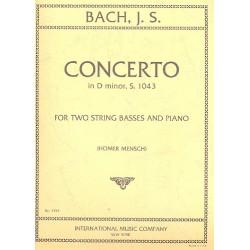 Bach, Johann Sebastian: Konzert d-Moll BWV1043 für 2 Violinen und Orchester : für 2 Kontrabässe und Klavier
