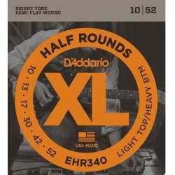 D'Addario EHR340 half rounds E-Gitarrensaiten - light top/heavy bottom (.010-.052)