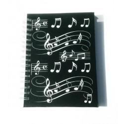 Notizbuch DIN A6 schwarz mit Noten