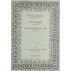 Mazak, Alberich: Laudate Dominum de coelis : f├╝r Sopran, 4 Stimmen, 2 Violinen und Bc, gem Chor ad lib und Bc Partitur und