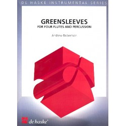 Greensleeves : for 4 flutes and percussion score and parts