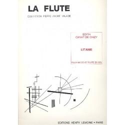 Canat de Chizy, Edith: Litanie pour mezzo et flute en sol 2 partitions