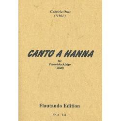 Ortiz, Gabrilea: Canto a Hanna für Tenorblockflöte