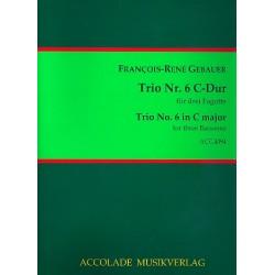 Gébauer, Francois-Réné: Trio C-Dur Nr.6 : für 3 Fagotte Partitur und Stimmen