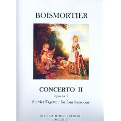 Boismortier, Joseph Bodin de: Concerto c-Moll op.15,2 : für 4 Fagotte Partitur und Stimmen