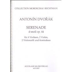 Dvorák, Antonín: Serenade d-Moll op.44 für 4 Violinen, 2 Violen, 2 Violoncelli und Kontrabaß Partitur und Stimmen